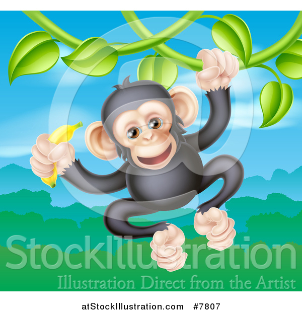 Vector Illustration of a Happy Chimpanzee Monkey Holding a Banana and Swinging from a Jungle Vine over a Valley