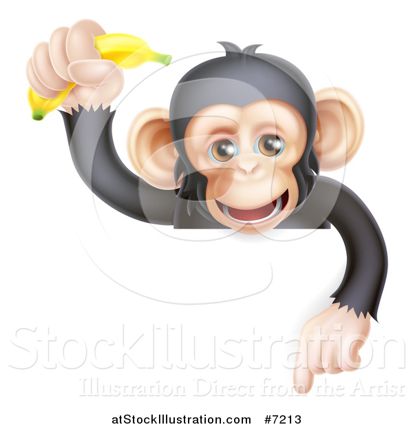 Vector Illustration of a Happy Chimpanzee Monkey Holding up a Banana and Pointing down over a Sign