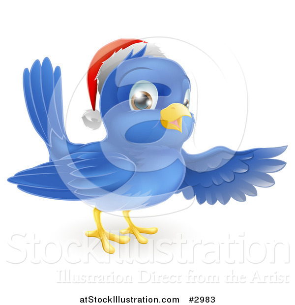 Vector Illustration of a Happy Christmas Blue Bird Wearing a Santa Hat and Presenting