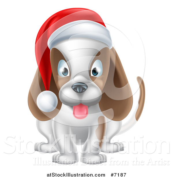 Vector Illustration of a Happy Christmas Dog Sitting and Wearing a Santa Hat
