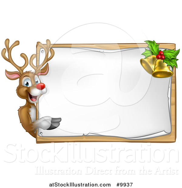 Vector Illustration of a Happy Christmas Reindeer Pointing Around a Sign Board with Bells