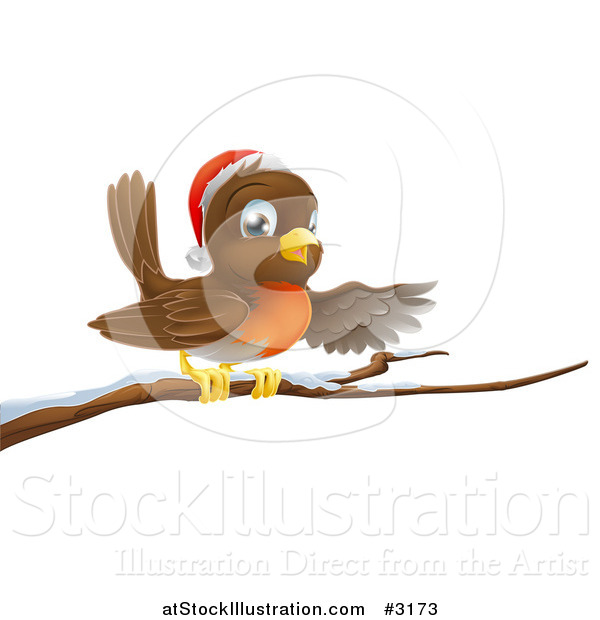 Vector Illustration of a Happy Christmas Robin Wearing a Santa Hat and Perched on a Snowy Branch
