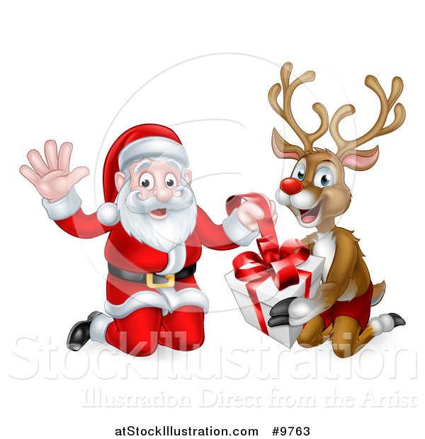Vector Illustration of a Happy Christmas Santa Claus and Reindeer Opening a Gift