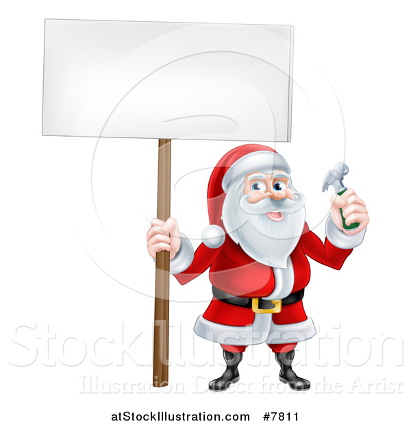 Vector Illustration of a Happy Christmas Santa Claus Carpenter Holding a Hammer and Blank Sign