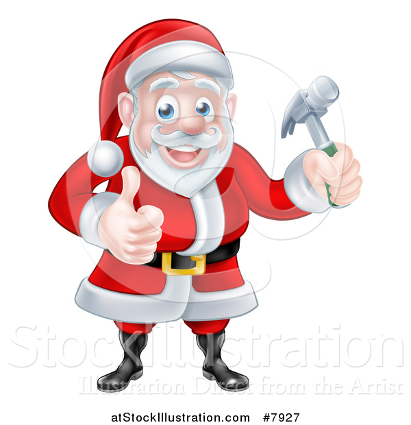 Vector Illustration of a Happy Christmas Santa Claus Carpenter Holding a Hammer and Giving a Thumb up