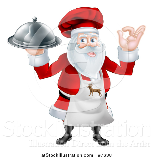 Vector Illustration of a Happy Christmas Santa Claus Chef Gesturing Ok and Holding a Food Cloche Platter 3