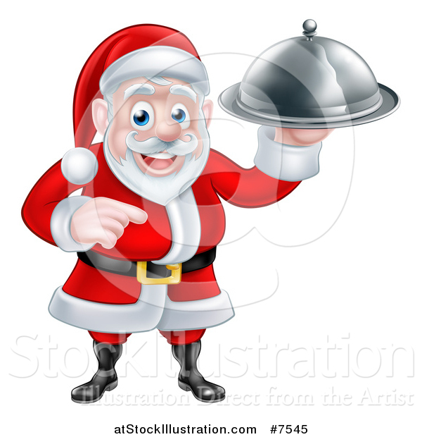 Vector Illustration of a Happy Christmas Santa Claus Chef Holding a Silver Cloche Platter and Pointing