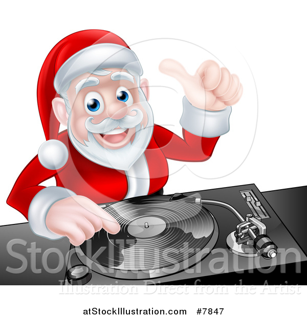 Vector Illustration of a Happy Christmas Santa Claus Dj Mixing Music on a Turntable and Giving a Thumb up