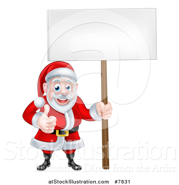 Vector Illustration of a Happy Christmas Santa Claus Holding a Blank Sign and Giving a Thumb up 2
