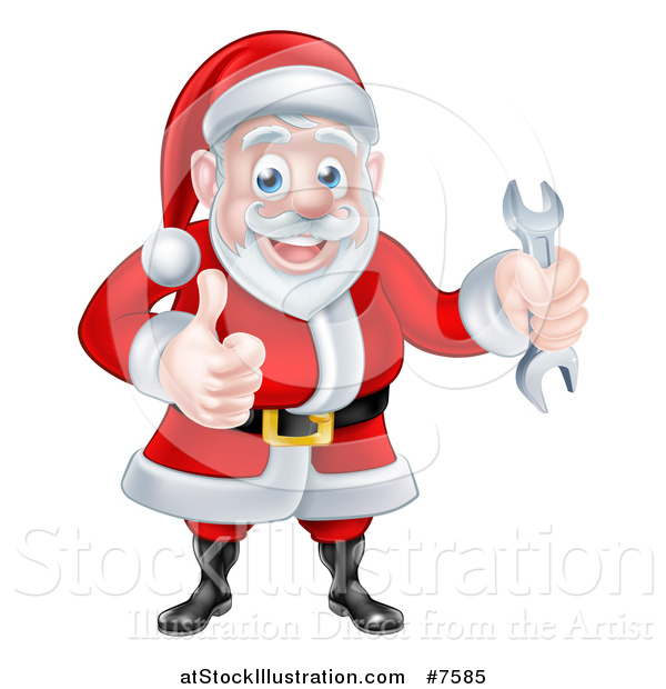 Vector Illustration of a Happy Christmas Santa Claus Holding a Wrench and Giving a Thumb up 2