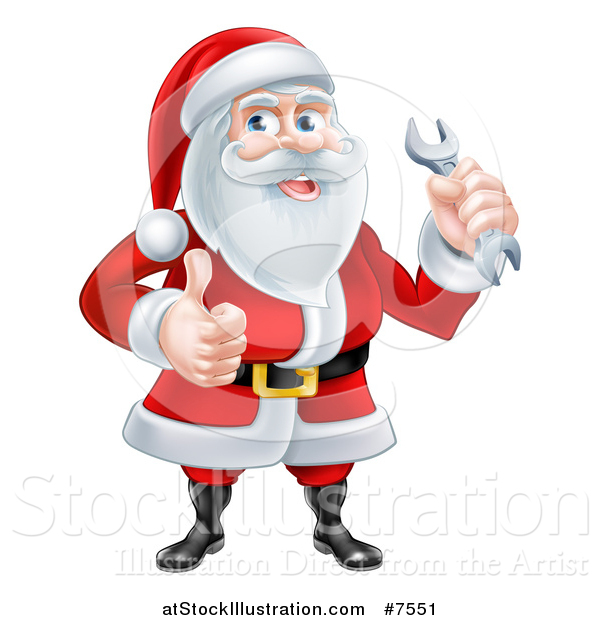 Vector Illustration of a Happy Christmas Santa Claus Holding a Wrench and Giving a Thumb up