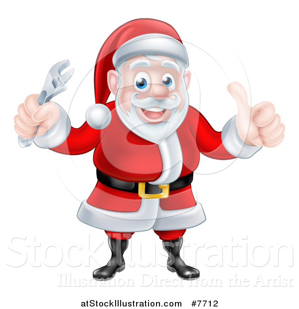 Vector Illustration of a Happy Christmas Santa Claus Holding an Adjustable Wrench and Giving a Thumb up 2