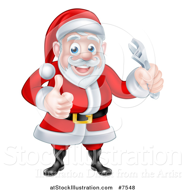 Vector Illustration of a Happy Christmas Santa Claus Holding an Adjustable Wrench and Giving a Thumb up