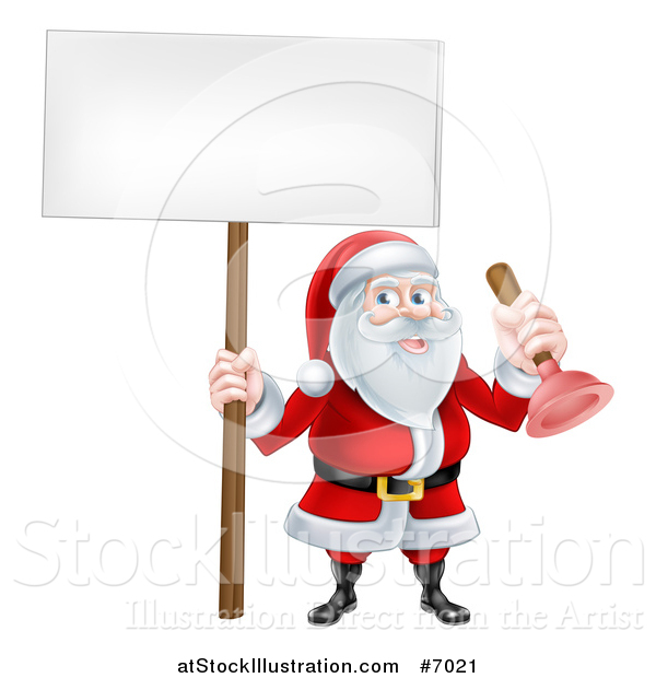 Vector Illustration of a Happy Christmas Santa Claus Plumber Holding a Plunger and Blank Sign