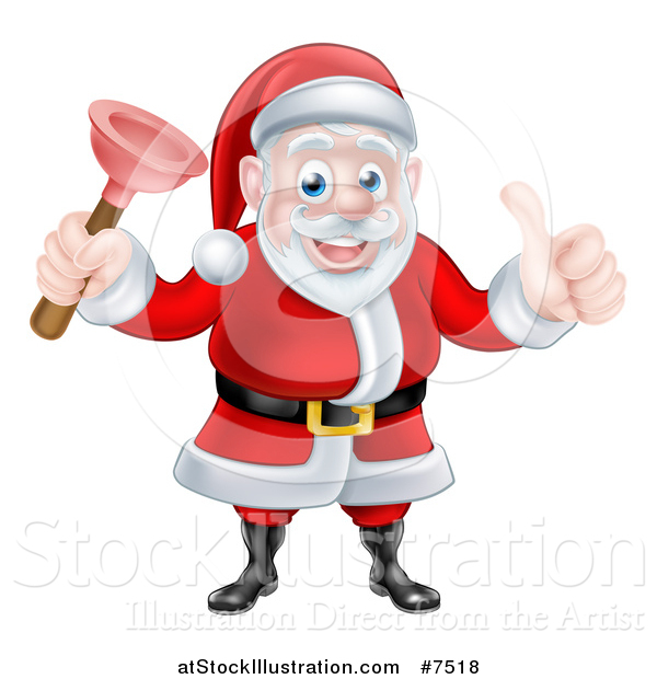 Vector Illustration of a Happy Christmas Santa Claus Plumber Holding a Plunger and Giving a Thumb up 3