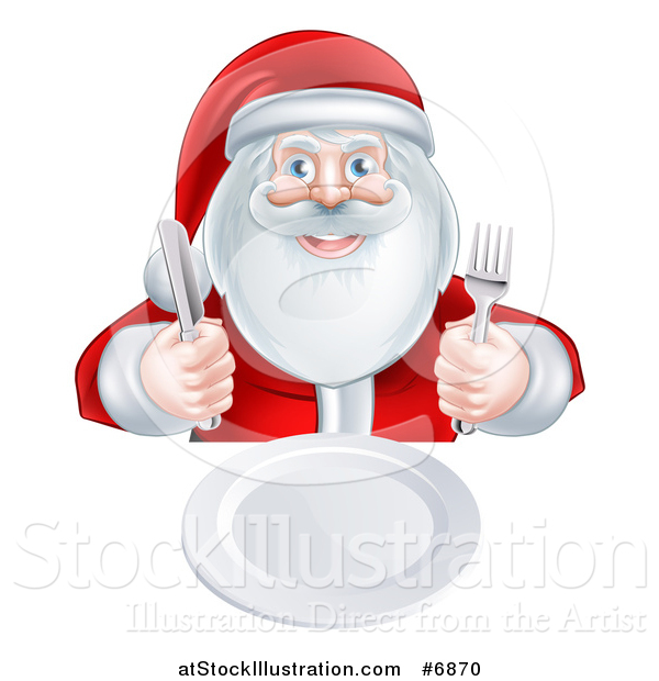 Vector Illustration of a Happy Christmas Santa Claus Sitting with a Clean Plate and Holding Silverware