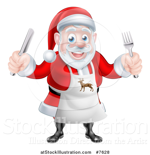 Vector Illustration of a Happy Christmas Santa Claus Wearing an Apron and Holding Silverware 2