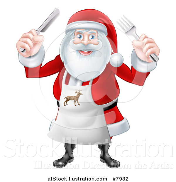 Vector Illustration of a Happy Christmas Santa Claus Wearing an Apron and Holding Silverware