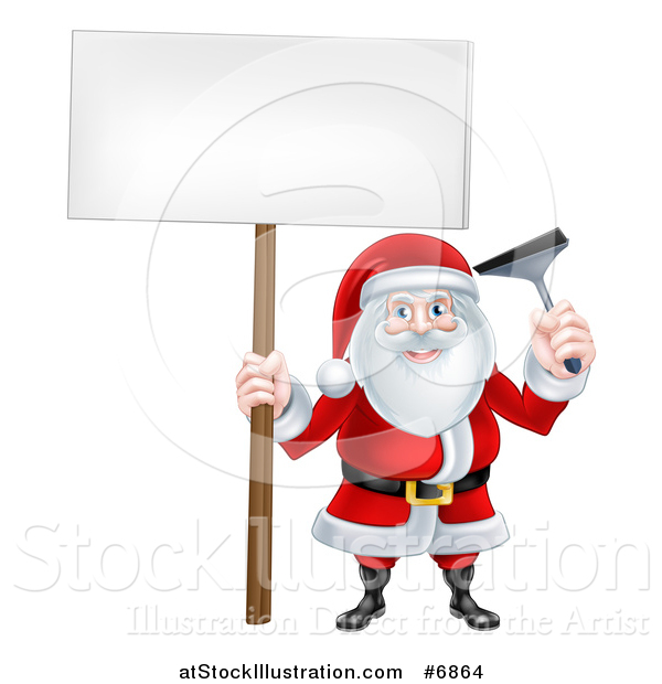 Vector Illustration of a Happy Christmas Santa Claus Window Washer Holding a Blank Sign and Squeegee