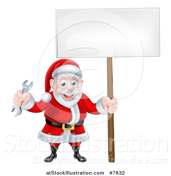 Vector Illustration of a Happy Christmas Santa Holding a Spanner Wrench and Blank Sign 4