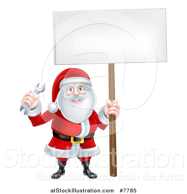 Vector Illustration of a Happy Christmas Santa Holding a Spanner Wrench and Blank Sign