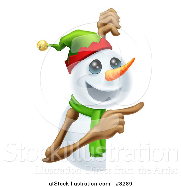 Vector Illustration of a Happy Christmas Snowman Pointing at a Sign