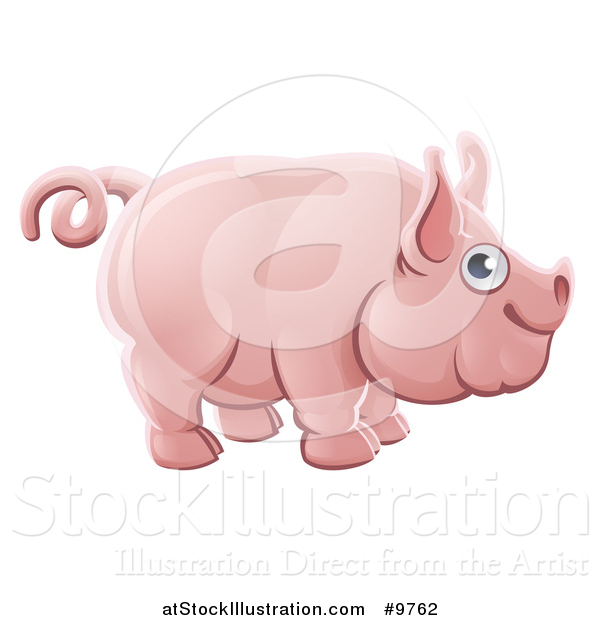 Vector Illustration of a Happy Chubby Pink Pig