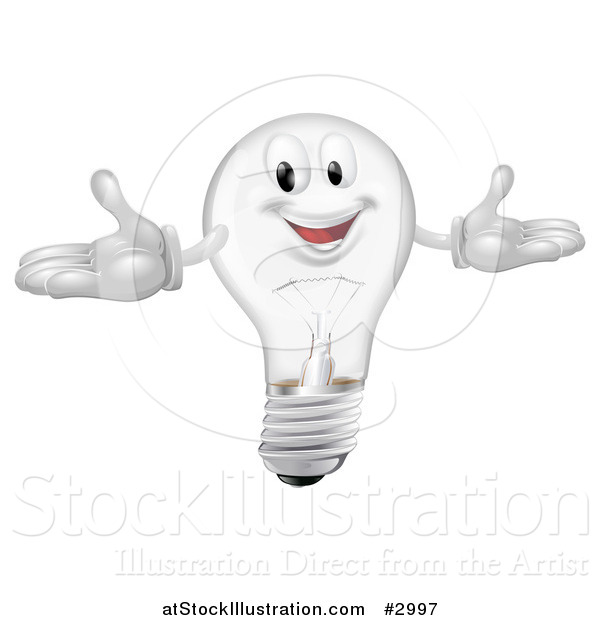 Vector Illustration of a Happy Clear Lightbulb Mascot with Open Arms