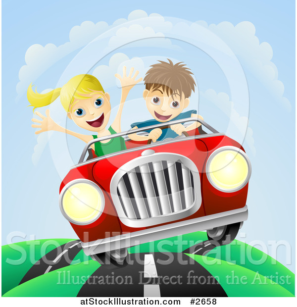 Vector Illustration of a Happy Couple Driving Fast on a Hilly Road