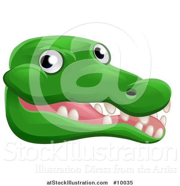 Vector Illustration of a Happy Crocodile Face Avatar