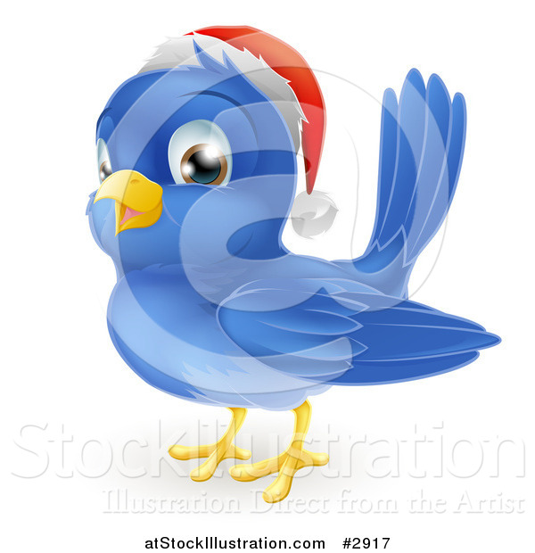 Vector Illustration of a Happy Cute Christmas Bluebird Wearing a Santa Hat