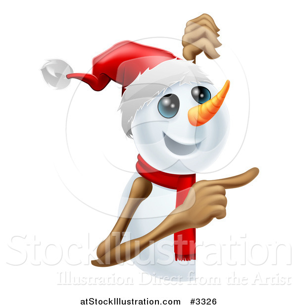 Vector Illustration of a Happy Cute Snowman Pointing to a Sign
