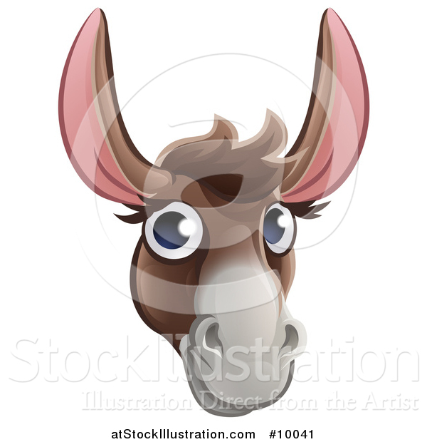 Vector Illustration of a Happy Donkey Face Avatar