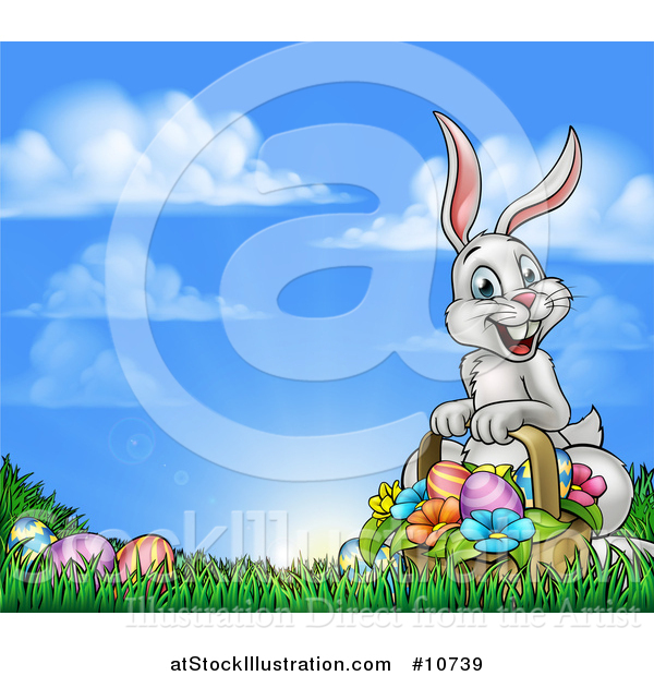 Vector Illustration of a Happy Easter Bunny with a Basket of Eggs and Flowers in the Grass, Against a Blue Sky