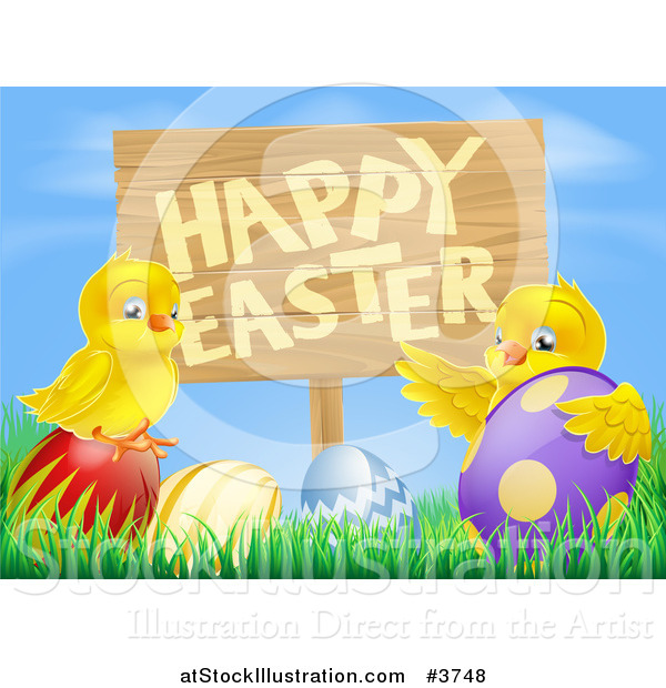 Vector Illustration of a Happy Easter Sign with Chicks and Easter Eggs Against Blue Sky