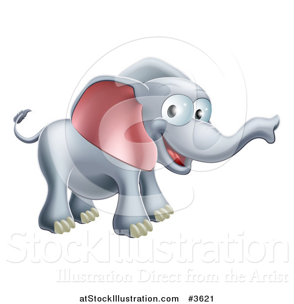 Vector Illustration of a Happy Elephant with a Smile