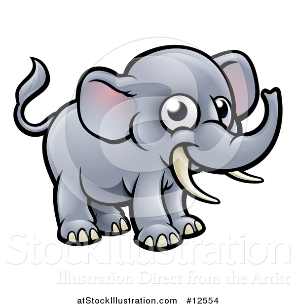 Vector Illustration of a Happy Elephant with Tusks