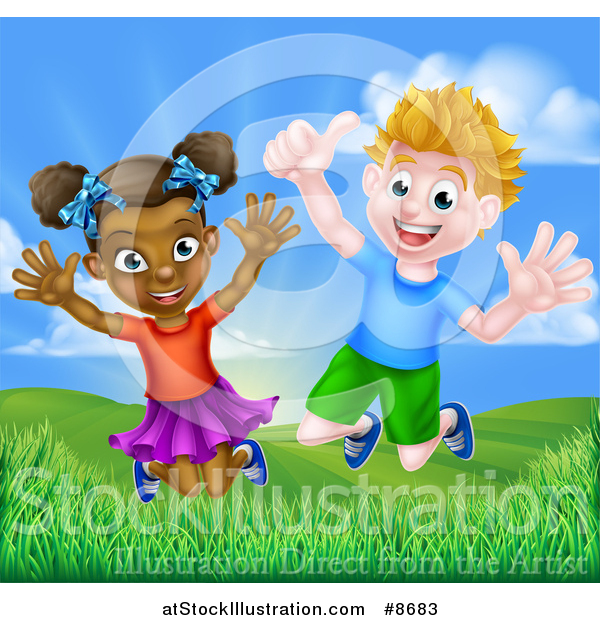 Vector Illustration of a Happy Energetic White Boy and Black Girl Jumping Outside on a Sunny Day