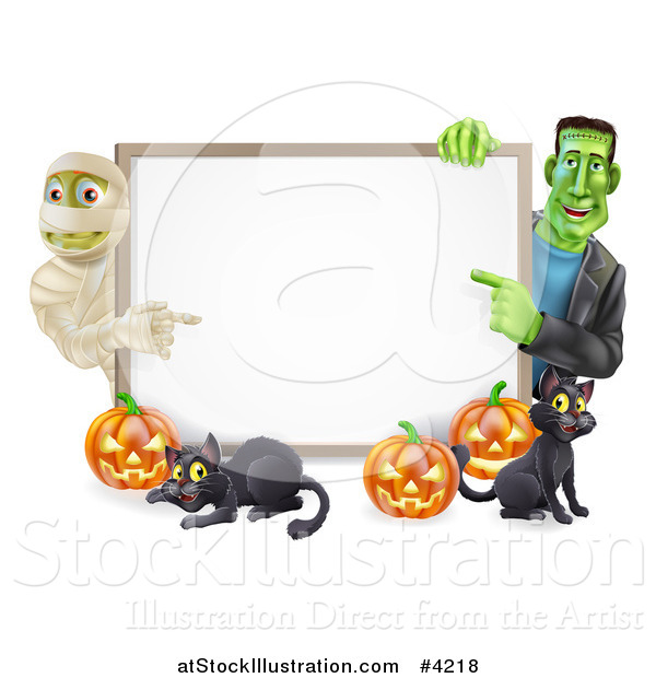 Vector Illustration of a Happy Frankenstein Mummy Pumpkins and Black Cat Around a Blank Sign