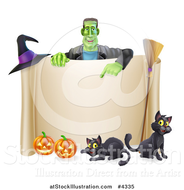 Vector Illustration of a Happy Frankenstein Pointing down at a Scroll Sign with a Witch Hat Cats a Broomstick and Halloween Pumpkins