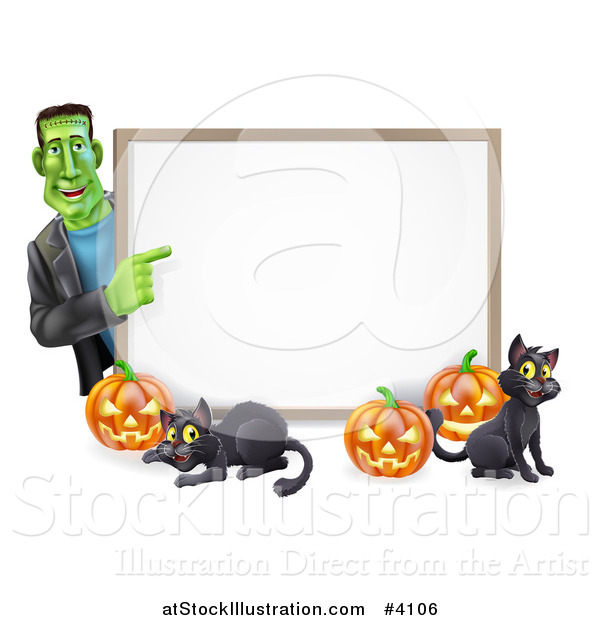 Vector Illustration of a Happy Frankenstein with Cats and Halloween Pumpkins Around a White Sign