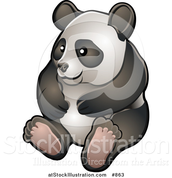 Vector Illustration of a Happy Giant Panda Bear (Ailuropoda Melanoleuca) Sitting on Its Hind Legs in a Zoo