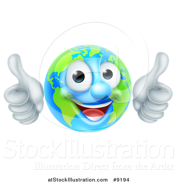 Vector Illustration of a Happy Globe Mascot Giving Two Thumbs up