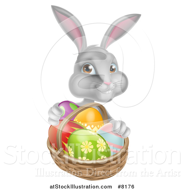 Vector Illustration of a Happy Gray Bunny with Easter Eggs and a Basket