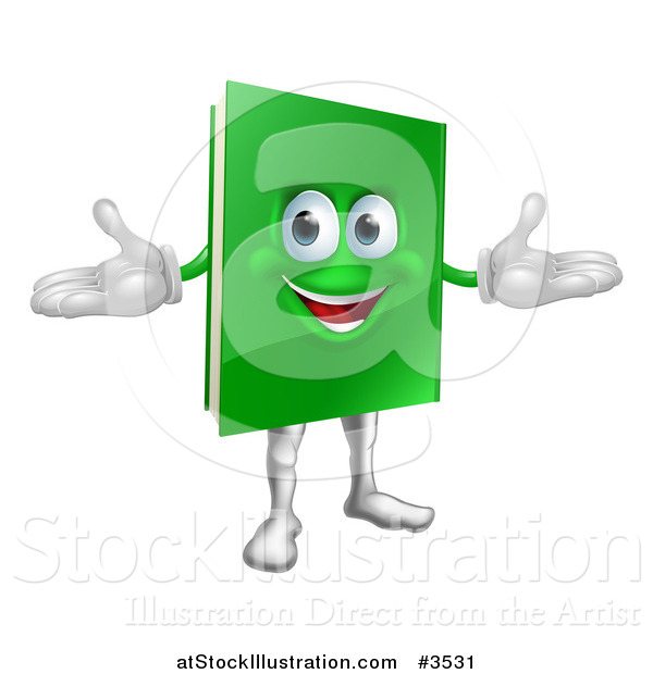 Vector Illustration of a Happy Green Book Mascot