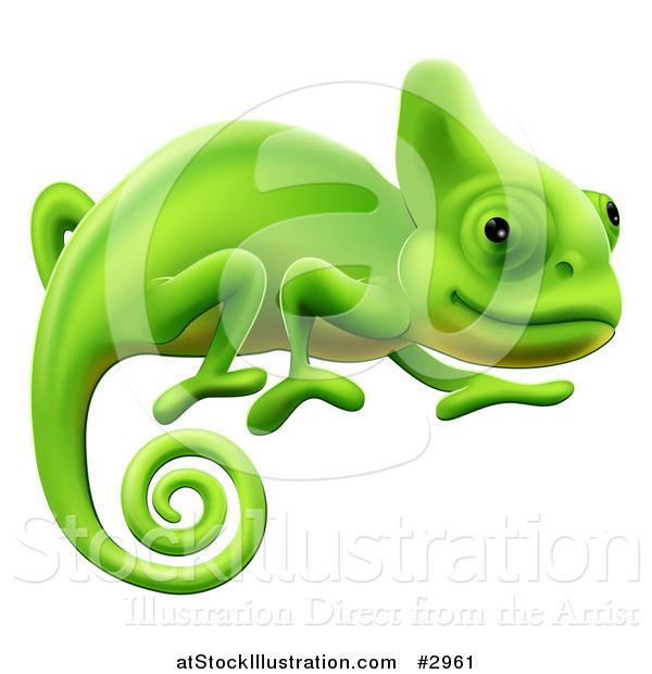 Vector Illustration of a Happy Green Chameleon Lizard