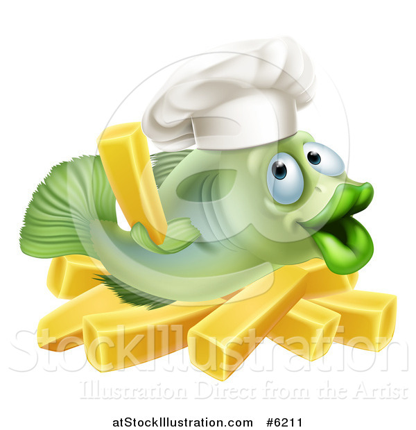 Vector Illustration of a Happy Green Cod Fish Chef Holding up a French Fry over Chips