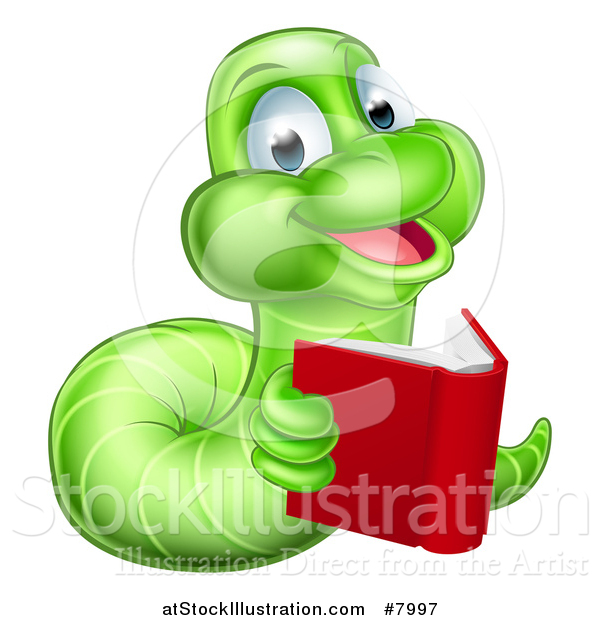 Vector Illustration of a Happy Green Earthworm Reading a Book