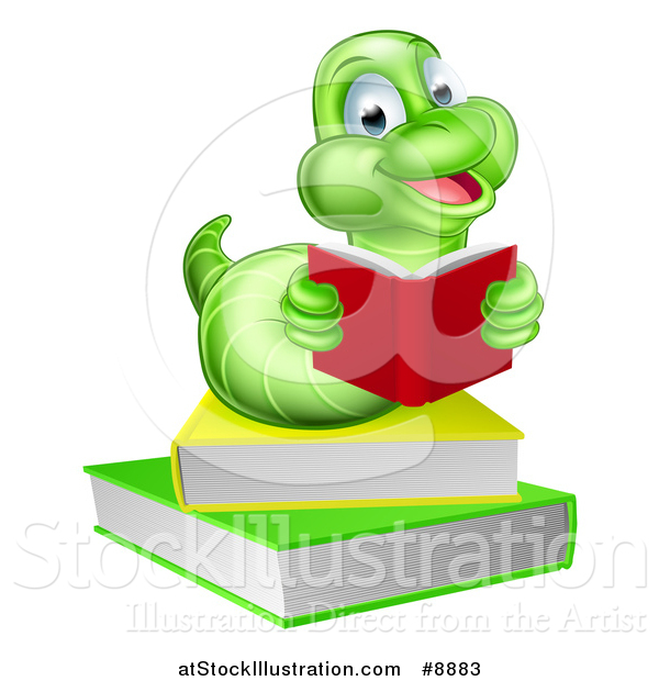 Vector Illustration of a Happy Green Earthworm Reading a Book on a Stack