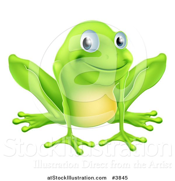 Vector Illustration of a Happy Green Frog Smiling